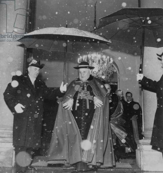 Cardinal Ange Joseph Roncalli (1881-1963) Future Pope John Xxiii (1958-1963) here Leaving Elysee Palace in Paris on December 31, 1952 (b/w photo)