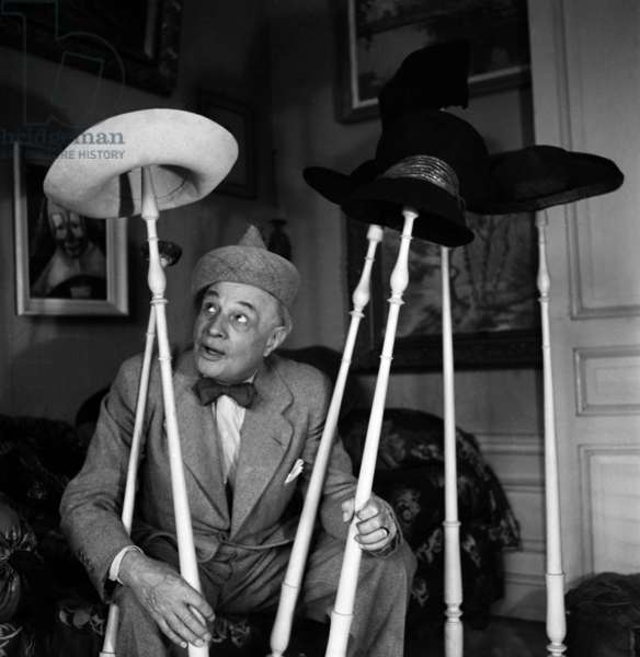 Alphonse Boulicot, French Clown, at Home in Paris, June 13, 1946 (b/w photo)