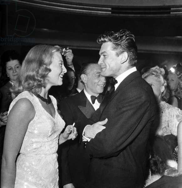 Michele Morgan and Jean Marais at Premiere of Film
