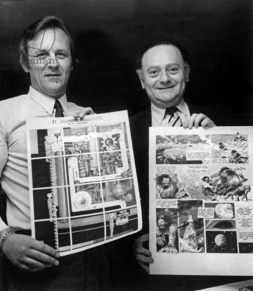 Rene Goscinny And Albert Uderzo The Author And The Draftsman Of Asterix And Obelix After Desigaining The Two Winners Of The Comic Book Here Holding The Drafts Of Philippe Bochatom And Ernes Bilal Who Won A Return Trip To The United States May 13, 1971 (b/w photo)