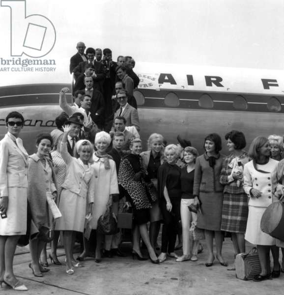 Pascale Audret, Mireille Darc, Anna Karina, Sophie Daumier, Eddie Constantine, Philippe Nicaud, Pascale Roberts, French Actress Sophie Desmarets (1922-2012) at The Airport, Paris, in Front of Air France Plane, September 4Th, 1963. (b/w photo)