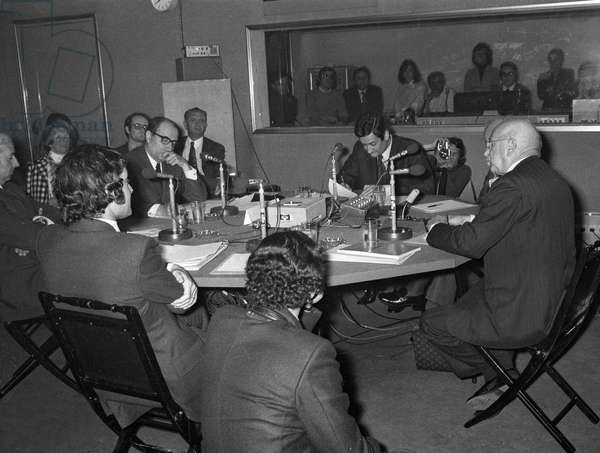 Francois Mitterrand, First Secretary of the Socialist Party, and Edgar Faure during debate on radio Europe 1 about French European Economic Community enlargement referendum, Paris, April 12, 1972 (b/w photo)