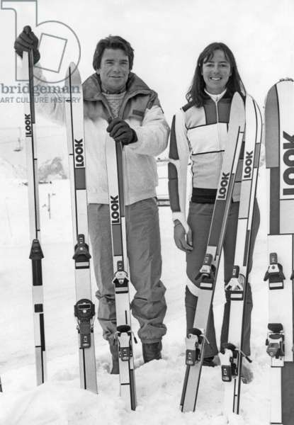 Bernard Tapie And Fabienne Serrat Her New Group Ambassador After Getting Started In Alpine and Cross Country Ski Manufacturing January 16, 1985 In L'Alpe D'Huez (b/w photo)