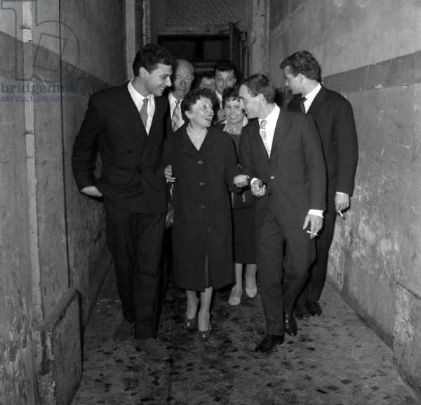 Edith Piaf, With Georges Moustaki (L), Came To See Charlesaznavour on Stage at The Alhambra in Paris October 09, 1958 (b/w photo)