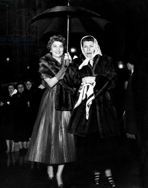 "Lily Cicurel Mendes-France (Wife of French Prime Minister) and her Sister-In-Law at Gala For Film ""Si Paris M'Etait Conte"" January 27, 1954 (b/w photo)"
