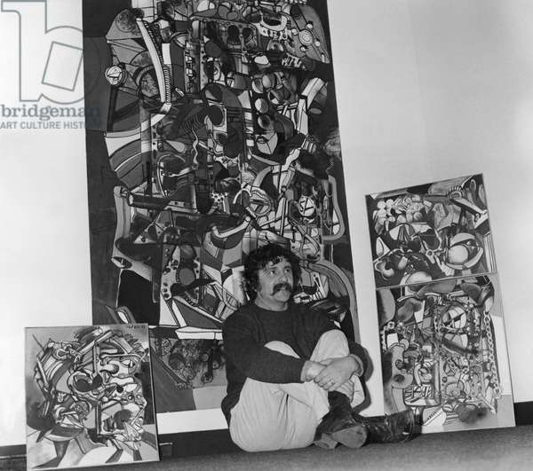 Roger Frezin At La Galerie Haute Before Some Of Her Canvas, October 6, 1967 (b/w photo)
