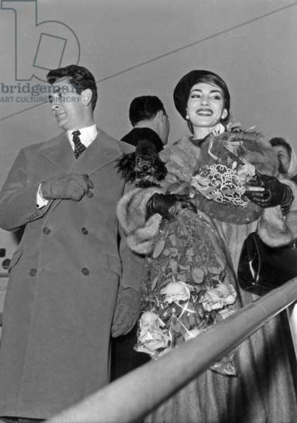Maria Callas , Holding her Poodle Bellini in her Arms, Arriving at Paris Airport January 16, 1958 Welcome By Jean-Claude Pascal (b/w photo)