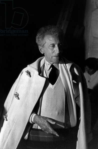 "Jean Cocteau on Set of Film ""The Testament of Orpheus"" 1959 (b/w photo)"