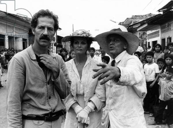 Werner Herzog With Claudia Cardinale and Klaus Kinski on Set of Film Fitzcarraldo 1982 (b/w photo)
