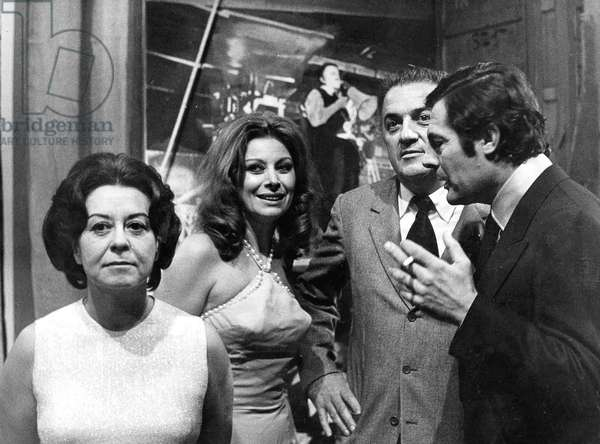 Federico Fellini With Guiletta Masina, Magali Noel and Marcello Mastroianni during TV Programme