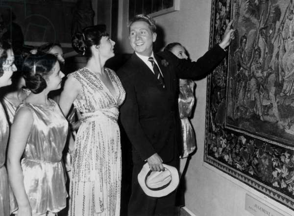 Juliette Greco, Charles Trenet and the Pupils at Paris Opera'S Ballet-School at Gala in The Louvre Museum October 16, 1953 (b/w photo)