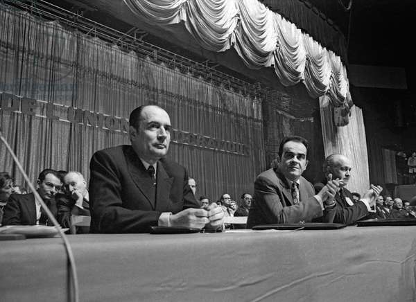 Meeting of the leaders of the Left, Paris, March 17, 1971 : Francois Mitterrand, Georges Marchais and Alain Savary (b/w photo)