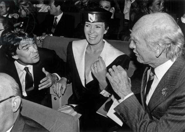 Bernard Tapie, Eddie Barclay and his 7Th Wife Cathy during Concert of Lizaminnelli, Paris, April 4, 1986 (b/w photo)