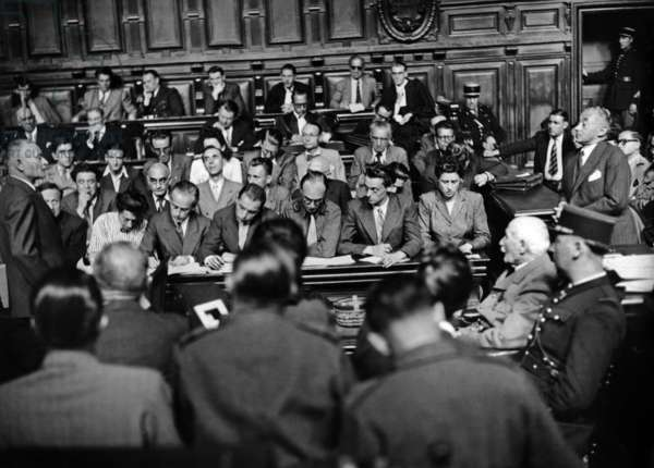 Trial of French Marshal Philippe Petain (Seated on R) in Paris July-August 1945 : Evidence of Paul Reynaud (b/w photo)