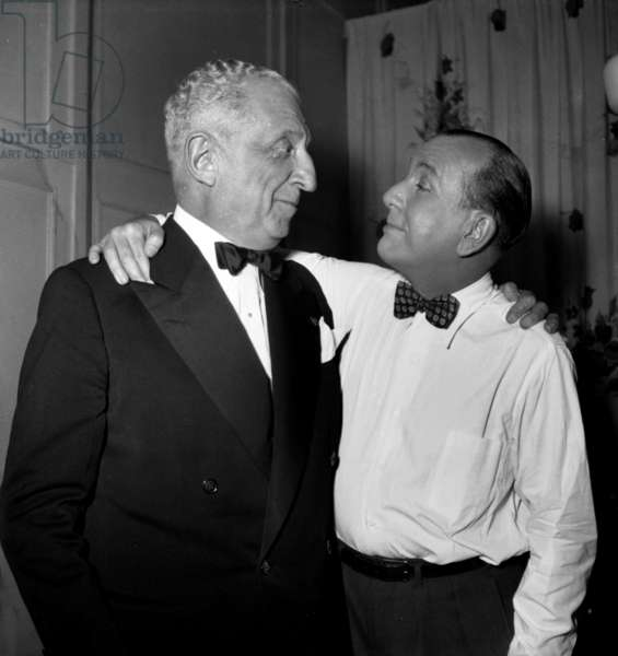 Henri Bernstein and Noel Coward during Rehearsal of Play Joyeux Chagrins November 18, 1948 (b/w photo)