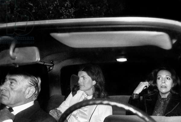 Aristotle Onassis With his Daughter Christina and his Wife Jackie Kennedy Onassis Leaving Maxim'S Restaurant in Paris, October 6, 1973 (b/w photo)