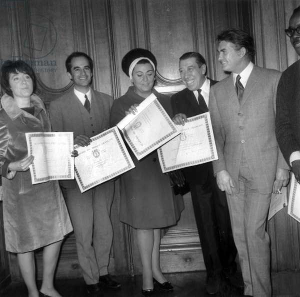 Academy of French Disc Has Given The Prizes : Helene Martin, Giani Esposito, Regine Crespin and Fernandel in Presence of Edgar Faure and Mr Rocher in Paris Town Hall on November 28, 1968 (b/w photo)