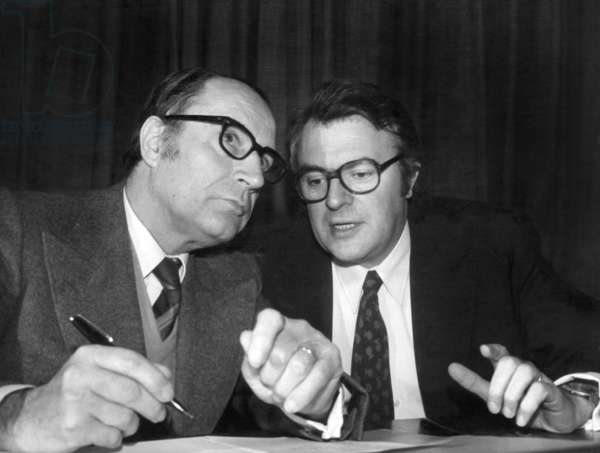 Francois Mitterrand, Leader of The French Socialist Party and Pierre Mauroy, National Secretary of The Party, during A Meeting of The Leader Committee, When Mitterrand Gives Concerned his Post of First Secretary, in Paris, on November 17Th, 1973 (b/w photo)