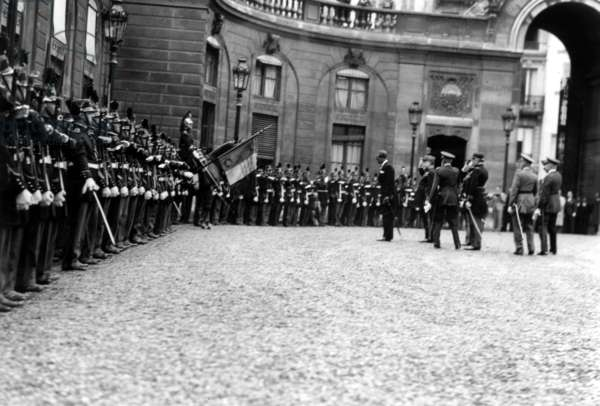 Visit of King Leopold Ii of Belgium in France here at Elysee Palace C. 1930 (b/w photo)