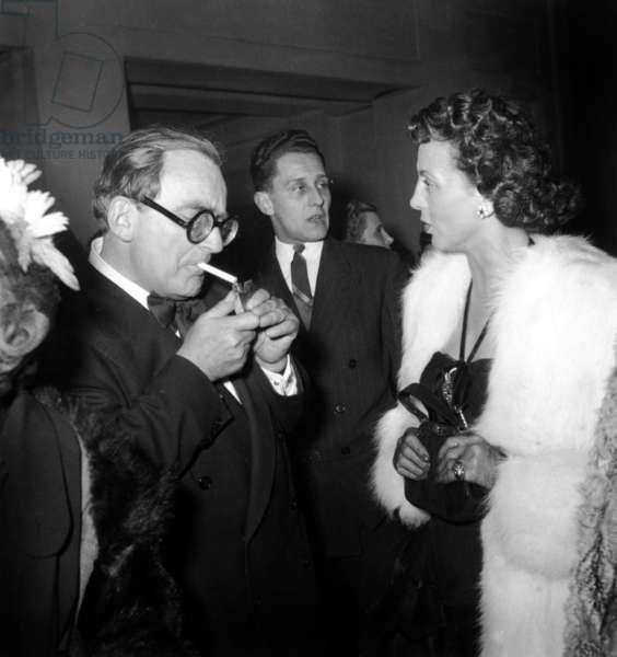 "Director Marcel Achard and Renee Saint Cyr at Presentation of Film ""Le Siecle A 50 Ans"" March 16, 1950 (b/w photo)"