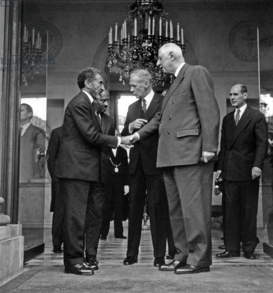 Emperor of Ethiopia Haile Selassie Meeting French President Charles De Gaulle at Elysee Palace October 20, 1966 (b/w photo)