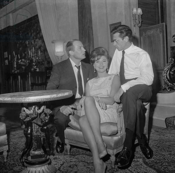 "Jacques Dacqmine, Robert Lamoureux and Sylva Koscina on set of film ""Ravissante"", Paris, September 8, 1960 (b/w photo)"