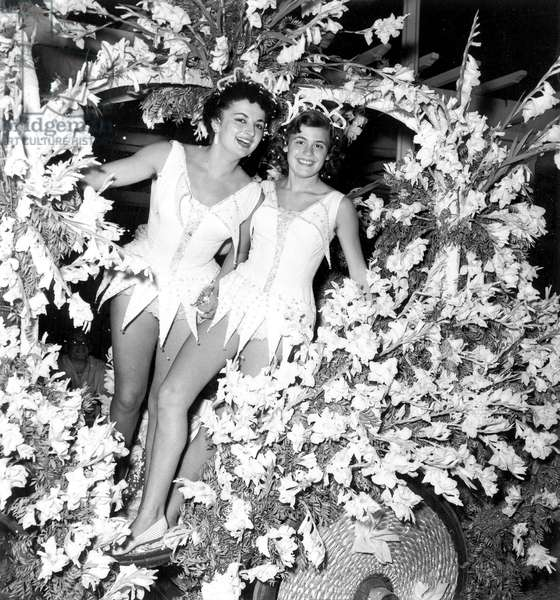 Young Women on The Gladiolus Float during White Night Parade in Nice on The Riviera France August 06, 1956 (b/w photo)