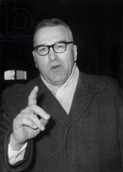 The Colonel Debrosse Arriving at The Barricades Trial at The Law Courts in Paris, February 7, 1961 (b/w photo)