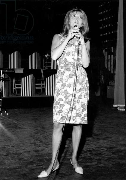 Singer Dalida during Rehearsal For Concerts September 1, 1964 (b/w photo)