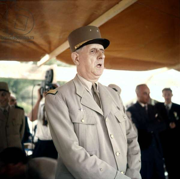 French President Charles De Gaulle during Visit in Constantine in June 1958, during The War in Algeria (photo)