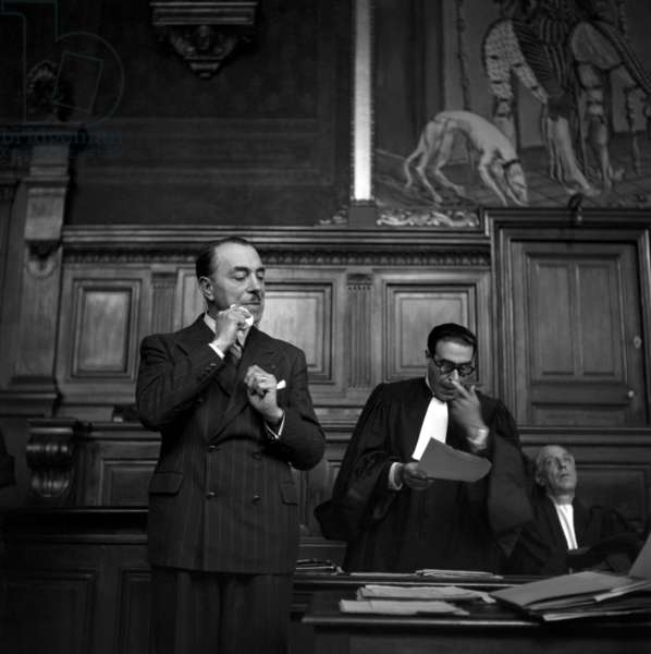 Trial of Joseph Pascot, French Politician Under The Vichy Governement, Paris, May 25, 1948 (b/w photo)