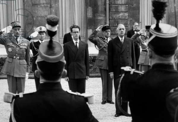 King Baudouin With President Charles De Gaulle and General Demetz Military Gouvernor of Paris (L) May 27, 1961 at Elysee Palace at The End of his Official Visit in Paris (Honoured By The Republican Guard) (b/w photo)