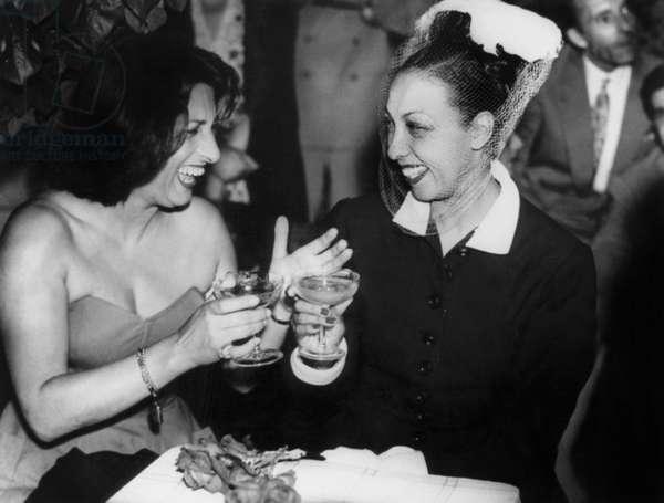 Anna Magnani and Josephine Baker C. 1948 (b/w photo)