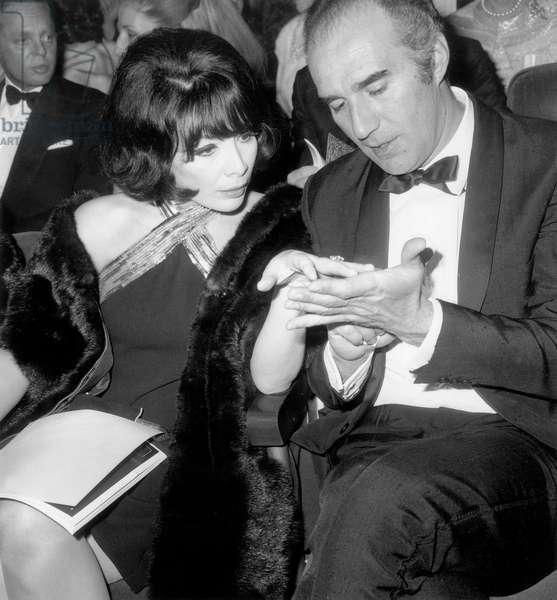 Juliette Greco and her Husband Michel Piccoli at Olympia in Paris For Premiere of Sammydavis June 3, 1967 (b/w photo)