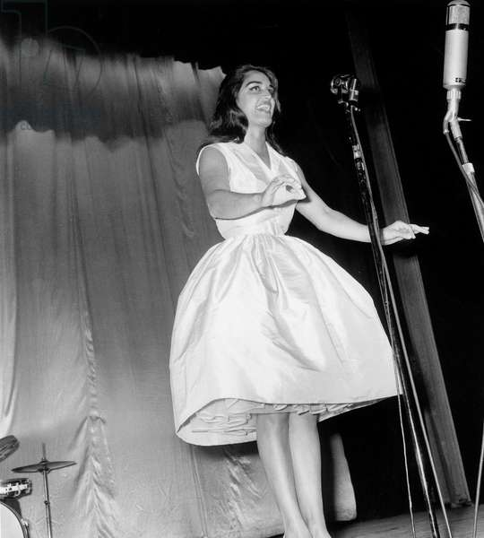 Singer Dalida on Stage at The Olympia, Paris, September 5, 1959 (b/w photo)