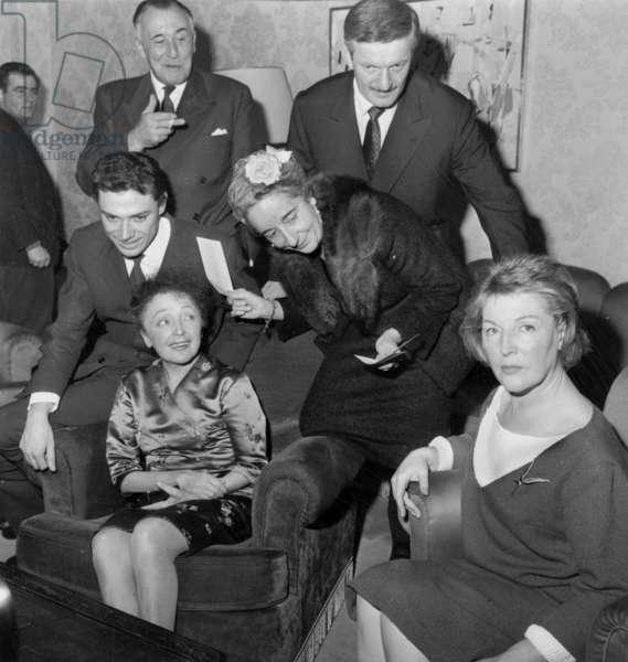 Upper-Down L-R Paul Gilson, Ithier Martali, Anne Manella, Edith Piaf and Marguerite Monnot November 15, 1960 (b/w photo)