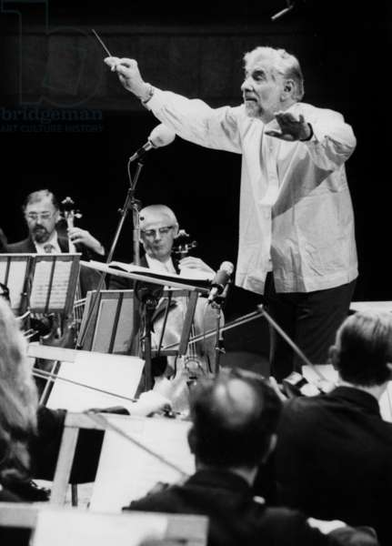American Composer Leonard Bernstein (1918 - 1990) Conducting An Orchestra, December 1978 (b/w photo)