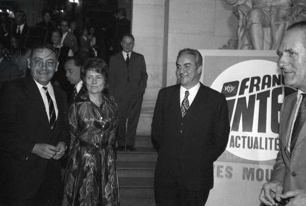 Arthur Conte, journalist Jacqueline Baudrier and Jacques Sallebert at 10th anniversary of radio program