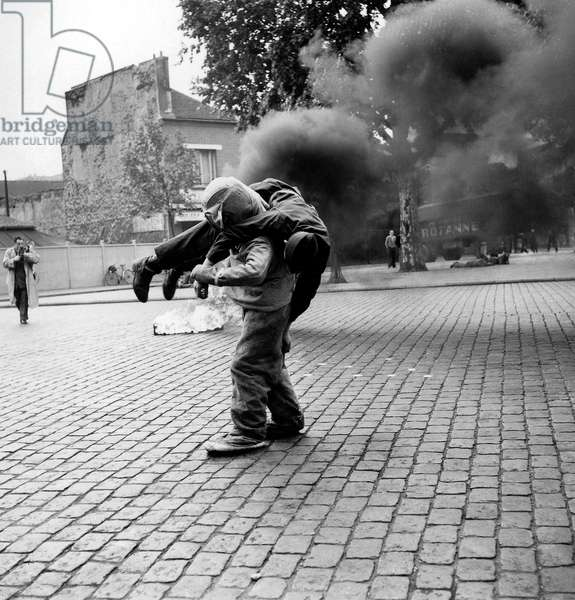 Firemen Training in Paris July 1955 (b/w photo)