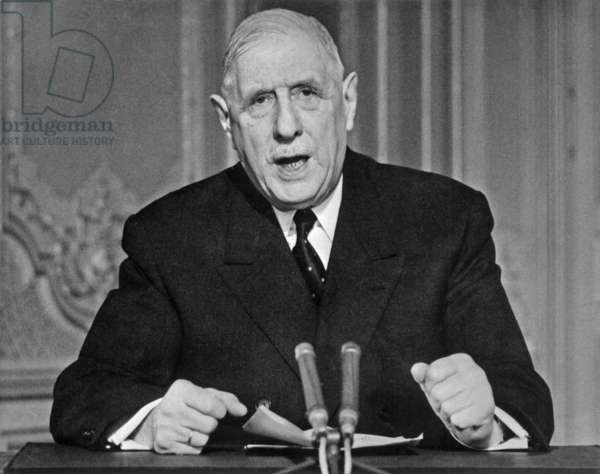 French President Charles De Gaulle during Speech at Television on May 24, 1968 (b/w photo)