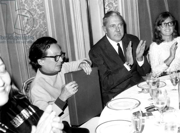 Marguerite Duras With Jacques Tati After He Received Movie Prize For his Film Playtime October 22, 1968 (b/w photo)