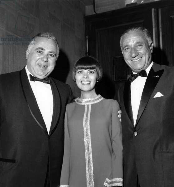 Producer Harry Saltzman, Mireille Mathieu and Marcel Bleustein Blanchet at Gala of Film