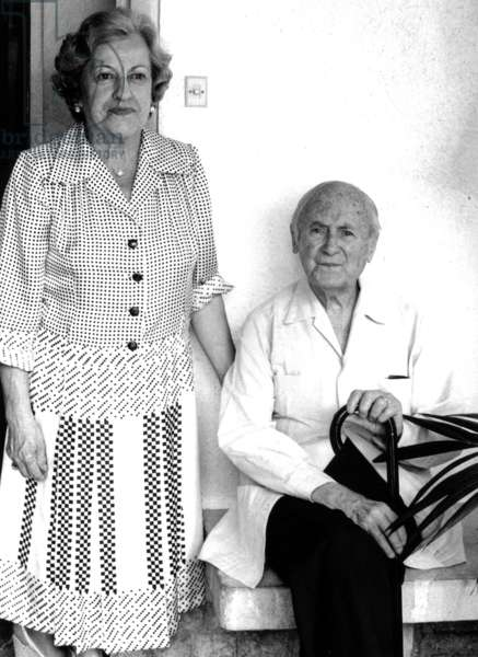 Joan Miro and his Wife at Home at Calamayor, Palma De Majorque September 11, 1978 (b/w photo)