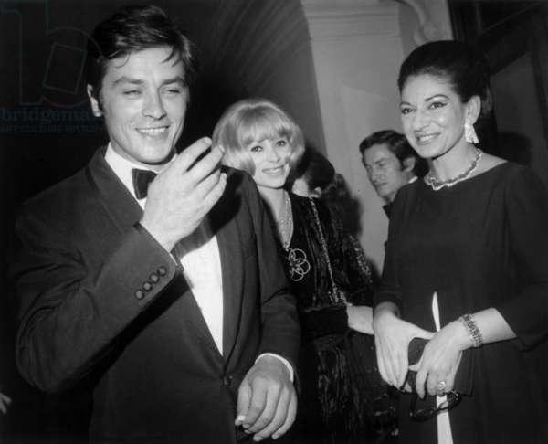 "Alain Delon, Mireille Darc and Maria Callas at Screening of Film ""Phedre"", Paris Opera House, October 15, 1968 (b/w photo)"