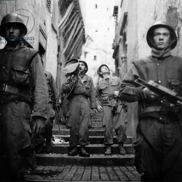 Patrol in The Streets in Kasbah of Algiers February 01, 1957 , during The War in Algeria (b/w photo)