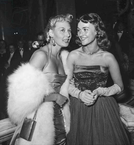 "Actresses Thilda Thamar and Daniele Delorme at presentation of film ""Stromboli"" at the Opera, Paris, October 12, 1950 (b/w photo)"