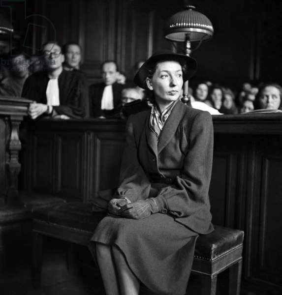 Trial of Corinne Luchaire, French Actress and Daughter of A Collaborationnist, Paris, June 4, 1946 (b/w photo)