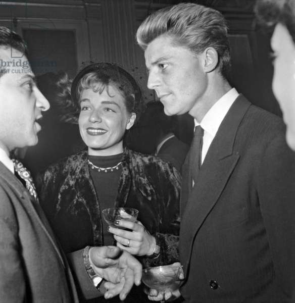 "Ceremony of ""Victoires Du Cinema Francais"" in Paris on December 15, 1948 : Simone Signoret and Gerard Philipe (b/w photo)"