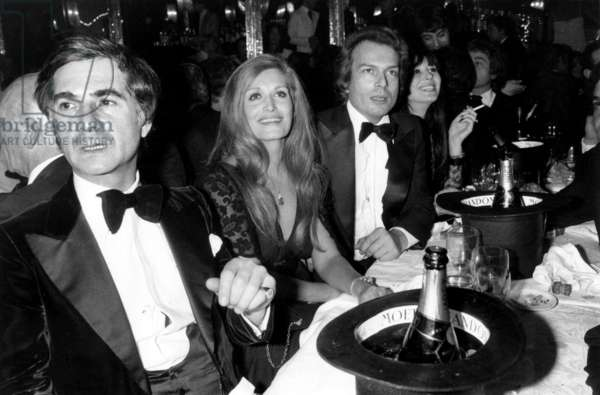 Jean Claude Brialy With Dalida and her Friend Count of Saint Germain (Richard Cahamfray) during Gala at The Paradis Latin in Paris December 04, 1977 (b/w photo)