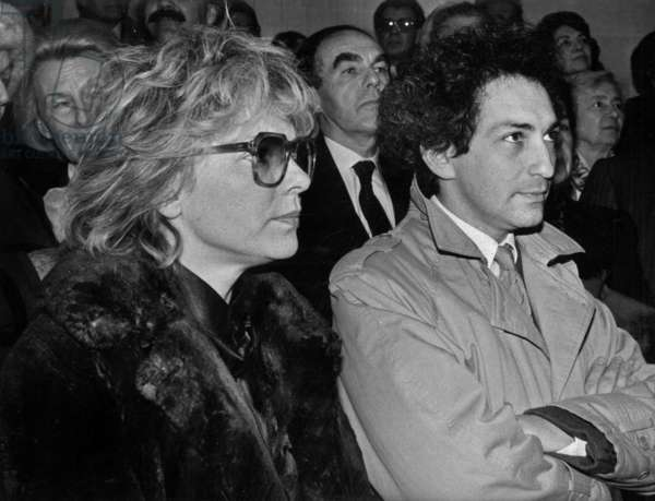 Michel Berger and his Wife France Gall during at The Admission of Professor Jeanhamburger (Michel Berger'S Father) Into The Academie Française in January 16, 1986 (b/w photo)